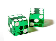 green dices on white background