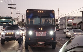 Xos Brown Delivery Truck